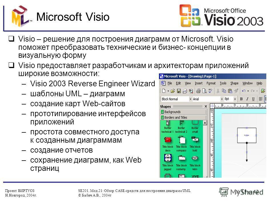 Проект ВИРТУОЗ Н.Новгород, 2004 г. SE201. Мод.21: Обзор CASE-средств для построения диаграмм UML © Бабич А.В., 2004 г 15 из 42 Microsoft Visio Visio – решение для построения диаграмм от Microsoft. Visio поможет преобразовать технические и бизнес- кон