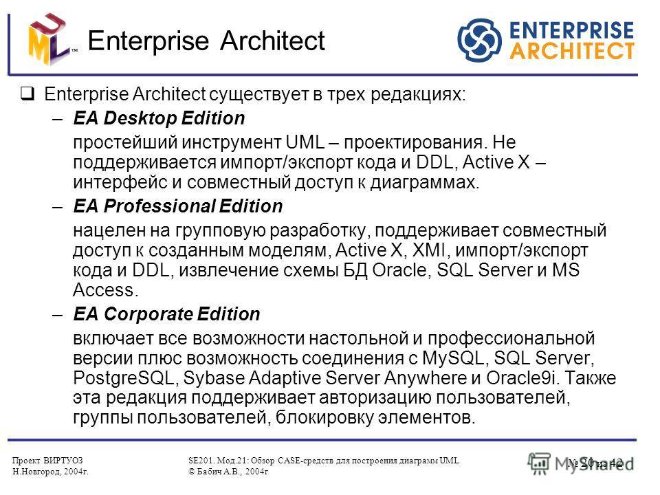Проект ВИРТУОЗ Н.Новгород, 2004 г. SE201. Мод.21: Обзор CASE-средств для построения диаграмм UML © Бабич А.В., 2004 г 20 из 42 Enterprise Architect Enterprise Architect существует в трех редакциях: –EA Desktop Edition простейший инструмент UML – прое