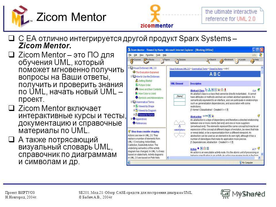 Проект ВИРТУОЗ Н.Новгород, 2004 г. SE201. Мод.21: Обзор CASE-средств для построения диаграмм UML © Бабич А.В., 2004 г 22 из 42 Zicom Mentor С EA отлично интегрируется другой продукт Sparx Systems – Zicom Mentor. Zicom Mentor – это ПО для обучения UML