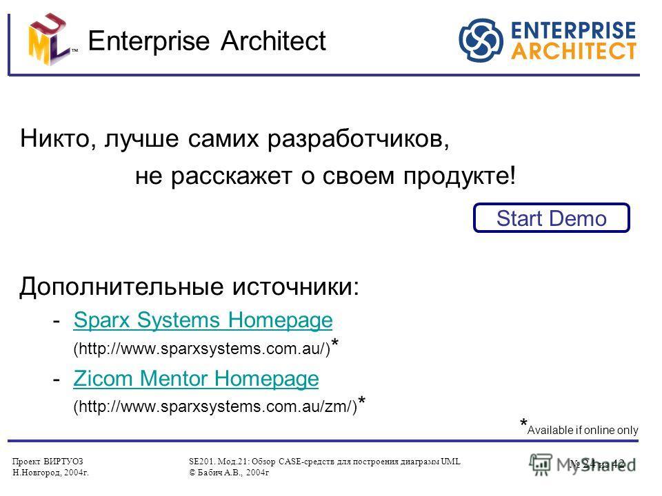 Проект ВИРТУОЗ Н.Новгород, 2004 г. SE201. Мод.21: Обзор CASE-средств для построения диаграмм UML © Бабич А.В., 2004 г 24 из 42 Enterprise Architect Никто, лучше самих разработчиков, не расскажет о своем продукте! Дополнительные источники: -Sparx Syst