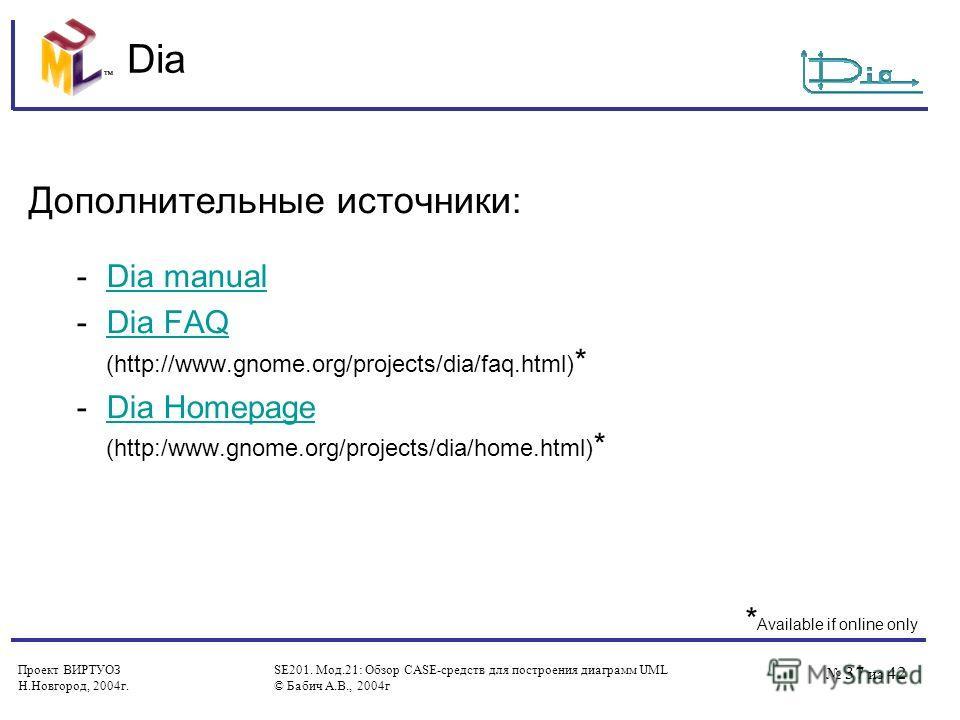 Проект ВИРТУОЗ Н.Новгород, 2004 г. SE201. Мод.21: Обзор CASE-средств для построения диаграмм UML © Бабич А.В., 2004 г 37 из 42 Dia Дополнительные источники: -Dia manualDia manual -Dia FAQ (http://www.gnome.org/projects/dia/faq.html) *Dia FAQ -Dia Hom