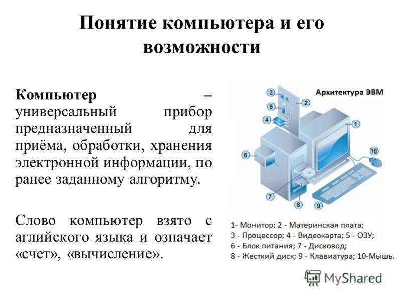 Понятие компьютера и его возможности Компьютер – универсальный прибор предназначенный для приёма, обработки, хранения электронной информации, по ранее заданному алгоритму. Слово компьютер взято с аглийского языка и означает «счет», «вычисление».