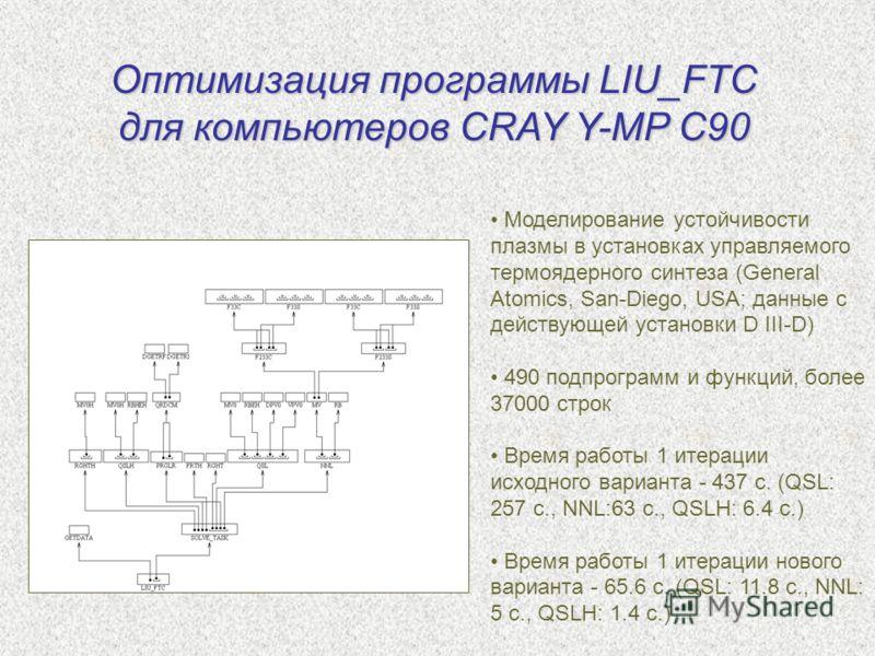 Оптимизация программы LIU_FTC для компьютеров CRAY Y-MP C90 Моделирование устойчивости плазмы в установках управляемого термоядерного синтеза (General Atomics, San-Diego, USA; данные с действующей установки D III-D) 490 подпрограмм и функций, более 3