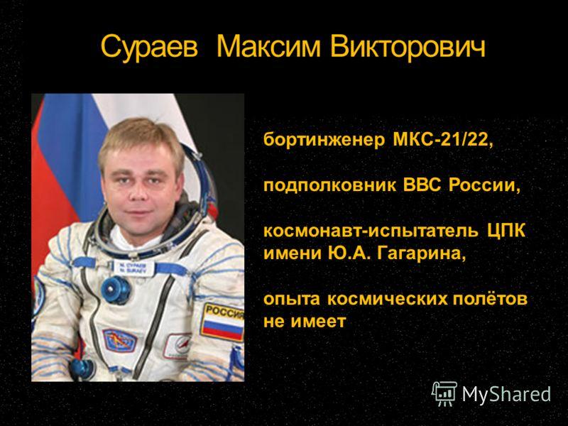 Сураев Максим Викторович бортинженер МКС-21/22, подполковник ВВС России, космонавт-испытатель ЦПК имени Ю.А. Гагарина, опыта космических полётов не имеет