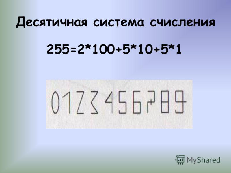 Десятичная система счисления 255=2*100+5*10+5*1