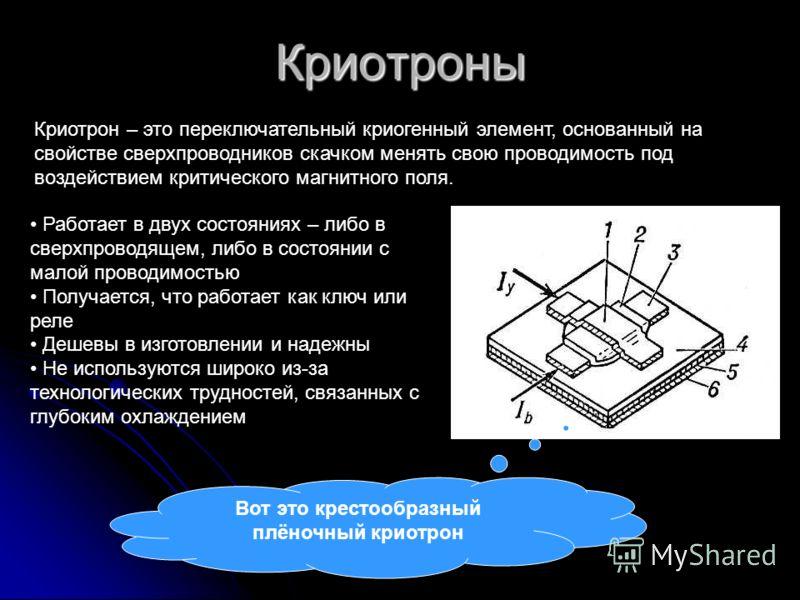 Криотроны Криотрон – это переключательный криогенный элемент, основанный на свойстве сверхпроводников скачком менять свою проводимость под воздействием критического магнитного поля. Работает в двух состояниях – либо в сверхпроводящем, либо в состояни