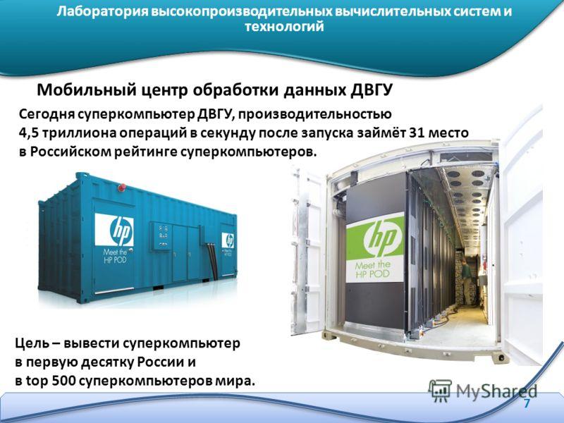 7 Мобильный центр обработки данных ДВГУ Сегодня суперкомпьютер ДВГУ, производительностью 4,5 триллиона операций в секунду после запуска займёт 31 место в Российском рейтинге суперкомпьютеров. Цель – вывести суперкомпьютер в первую десятку России и в