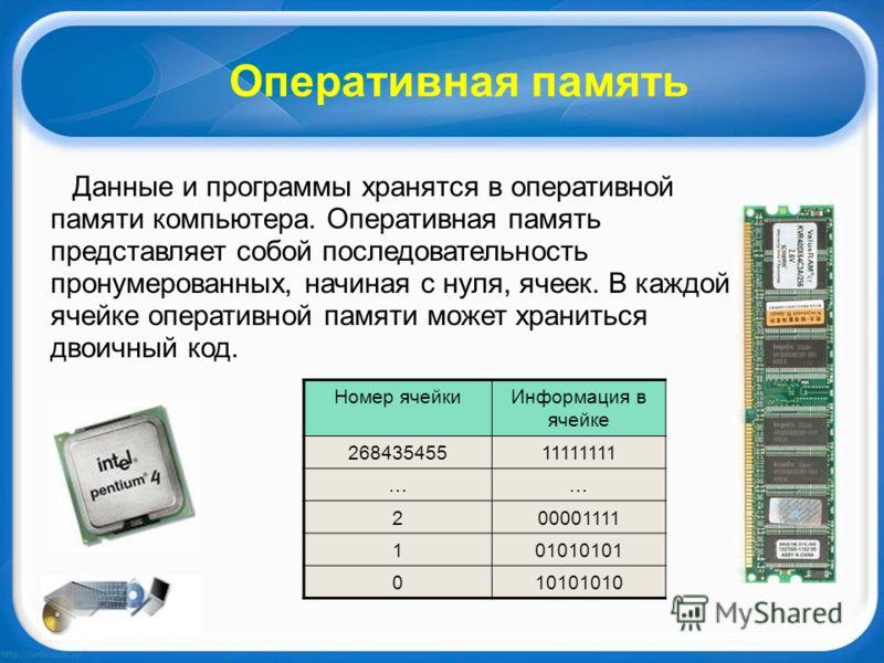 Оперативная память Данные и программы хранятся в оперативной памяти компьютера. Оперативная память представляет собой последовательность пронумерованных, начиная с нуля, ячеек. В каждой ячейке оперативной памяти может храниться двоичный код. Номер яч