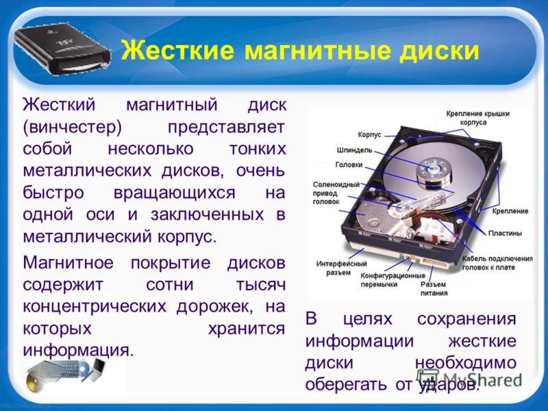 Жесткие магнитные диски Жесткий магнитный диск (винчестер) представляет собой несколько тонких металлических дисков, очень быстро вращающихся на одной оси и заключенных в металлический корпус. Магнитное покрытие дисков содержит сотни тысяч концентрич