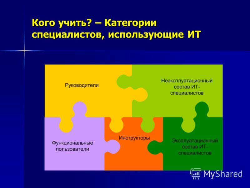 Кого учить? – Категории специалистов, использующие ИТ