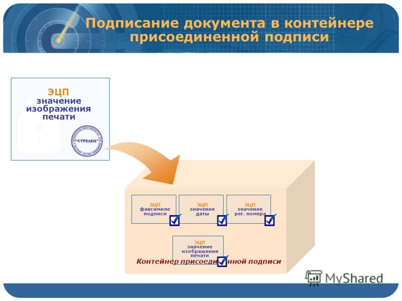 Контейнер присоединенной подписи ЭЦП значение даты ЭЦП факсимиле подписи Подписание документа в контейнере присоединенной подписи ЭЦП значение рег. номера ЭЦП значение изображения печати