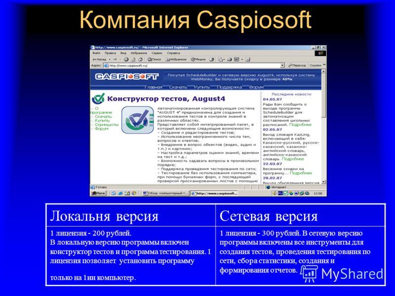 Компания Caspiosoft Локальня версияСетевая версия 1 лицензия - 200 рублей. В локальную версию программы включен конструктор тестов и программа тестирования. 1 лицензия позволяет установить программу только на 1ин компьютер. 1 лицензия - 300 рублей. В