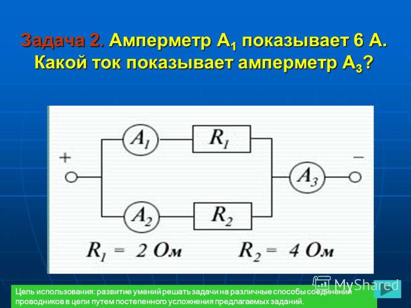 Задача 2. Амперметр А 1 показывает 6 А. Какой ток показывает амперметр А 3 ? Цель использования: развитие умений решать задачи на различные способы соединения проводников в цепи путем постепенного усложнения предлагаемых заданий.