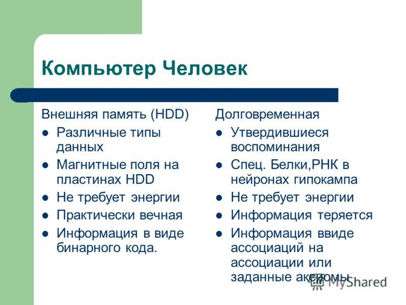 Компьютер Человек Внешняя память (HDD) Различные типы данных Магнитные поля на пластинах HDD Не требует энергии Практически вечная Информация в виде бинарного кода. Долговременная Утвердившиеся воспоминания Спец. Белки,РНК в нейронах гипокампа Не тре