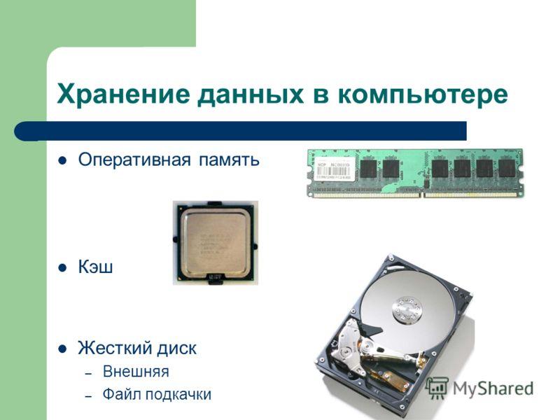 Хранение данных в компьютере Оперативная память Кэш Жесткий диск – Внешняя – Файл подкачки
