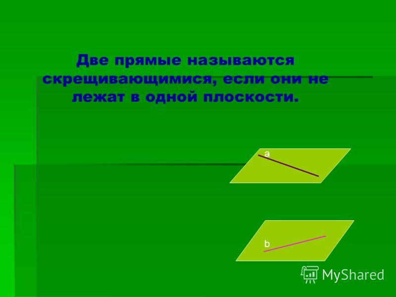 Две прямые называются скрещивающимися, если они не лежат в одной плоскости. а b