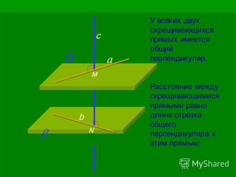 У всяких двух скрещивающихся прямых имеется общий перпендикуляр. Расстояние между скрещивающимися прямыми равно длине отрезка общего перпендикуляра к этим прямым; α c М N b а