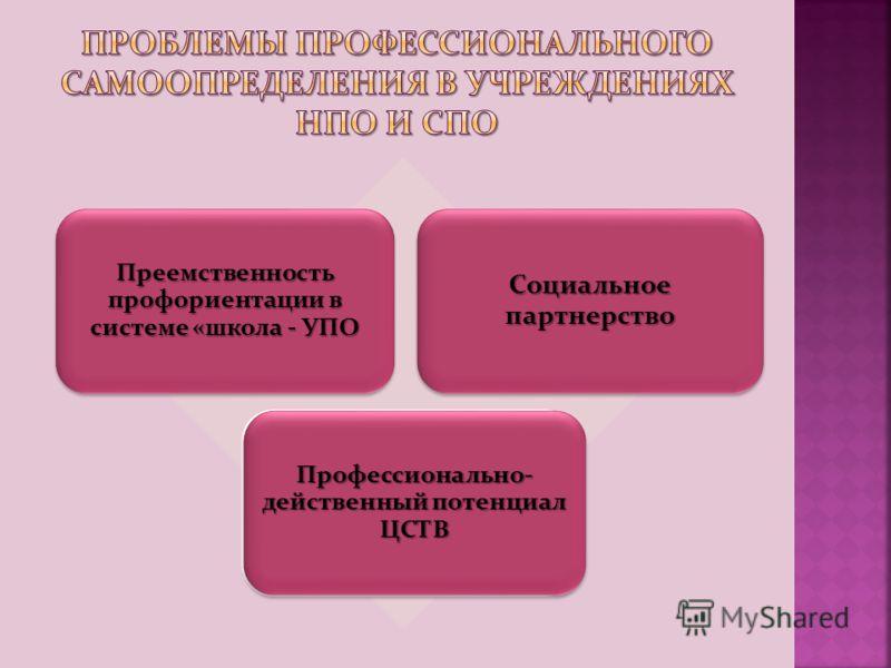 Преемственность профориентации в системе «школа - УПО Социальное партнерство Новые требования к приему в учреждения профессионального образования Профессионально- действенный потенциал ЦСТВ