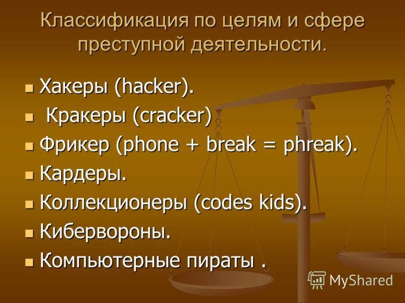Классификация по целям и сфере преступной деятельности. Хакеры (hacker). Хакеры (hacker). Кракеры (cracker) Кракеры (cracker) Фрикер (phone + break = phreak). Фрикер (phone + break = phreak). Кардеры. Кардеры. Коллекционеры (codes kids). Коллекционер