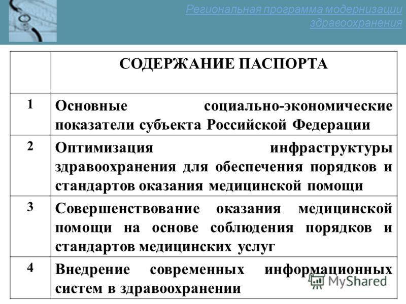 СОДЕРЖАНИЕ ПАСПОРТА 1 Основные социально-экономические показатели субъекта Российской Федерации 2 Оптимизация инфраструктуры здравоохранения для обеспечения порядков и стандартов оказания медицинской помощи 3 Совершенствование оказания медицинской по