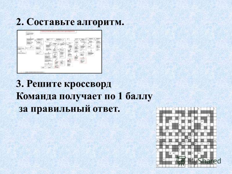 2. Составьте алгоритм. 3. Решите кроссворд Команда получает по 1 баллу за правильный ответ.