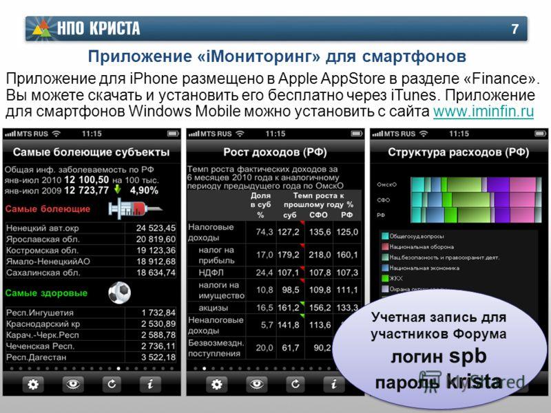 Приложение «iМониторинг» для смартфонов 7 Приложение для iPhone размещено в Apple AppStore в разделе «Finance». Вы можете скачать и установить его бесплатно через iTunes. Приложение для смартфонов Windows Mobile можно установить с сайта www.iminfin.r
