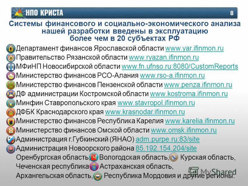 Системы финансового и социально-экономического анализа нашей разработки введены в эксплуатацию более чем в 20 субъектах РФ 8 Департамент финансов Ярославской области www.yar.ifinmon.ruwww.yar.ifinmon.ru Правительство Рязанской области www.ryazan.ifin