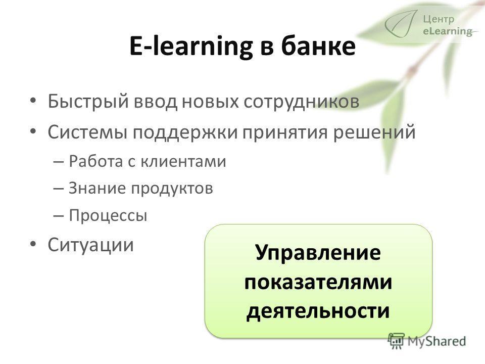 E-learning в банке Быстрый ввод новых сотрудников Системы поддержки принятия решений – Работа с клиентами – Знание продуктов – Процессы Ситуации Управление показателями деятельности