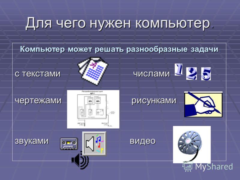 Для чего нужен компьютер. Компьютер может решать разнообразные задачи с текстами числами чертежами рисунками звуками видео