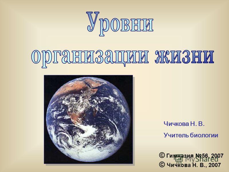 Чичкова Н. В. Учитель биологии © Гимназия 56, 2007 © Чичкова Н. В., 2007