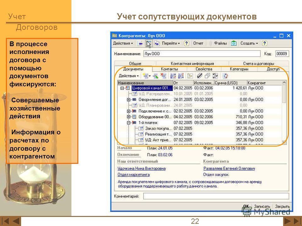 Учет Договоров 22 Учет сопутствующих документов В процессе исполнения договора с помощью документов фиксируются: Совершаемые хозяйственные действия Информация о расчетах по договору с контрагентом