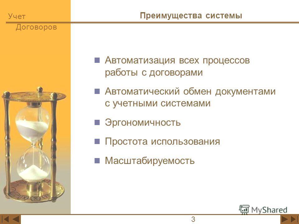 Учет Договоров 3 Преимущества системы Автоматизация всех процессов работы с договорами Автоматический обмен документами с учетными системами Эргономичность Простота использования Масштабируемость