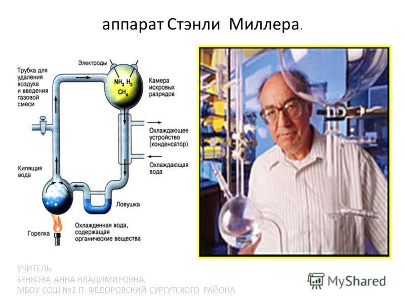 аппарат Стэнли Миллера. Стэнли Миллер и Сидни Фокс сконструировали аппарат, в котором содержались газы первичной атмосферы. Через эту смесь они пропускали электрические разряды. Сов. учёные А. Г. Пасынский и Т. Е. Павловская (1956) показали возможнос