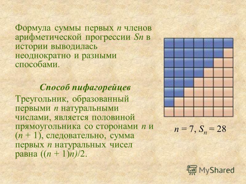 Формула суммы первых n членов арифметической прогрессии Sn в истории выводилась неоднократно и разными способами. Способ пифагорейцев Треугольник, образованный первыми n натуральными числами, является половиной прямоугольника со сторонами n и (n + 1)