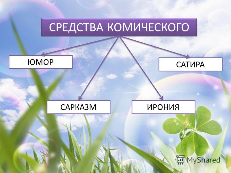 СРЕДСТВА КОМИЧЕСКОГО ЮМОР ИРОНИЯ САТИРА САРКАЗМ