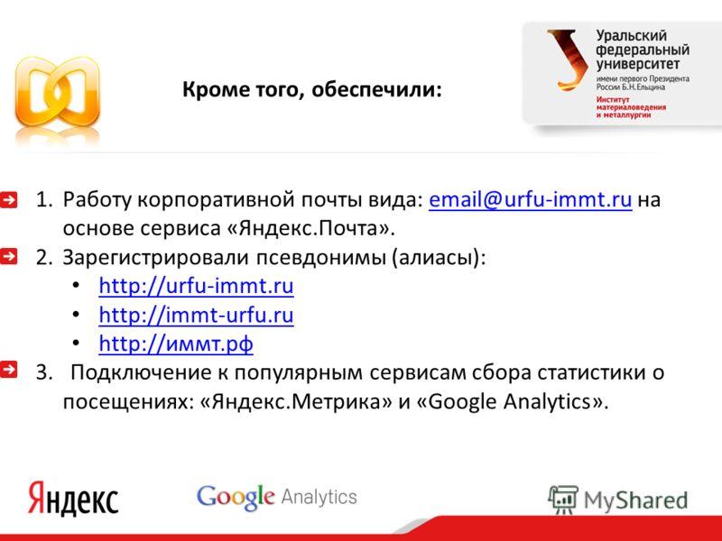 1.Работу корпоративной почты вида: email@urfu-immt.ru на основе сервиса «Яндекс.Почта».email@urfu-immt.ru 2.Зарегистрировали псевдонимы (алиасы): http://urfu-immt.ru http://immt-urfu.ru http://иммт.рф http://иммт.рф 3. Подключение к популярным сервис