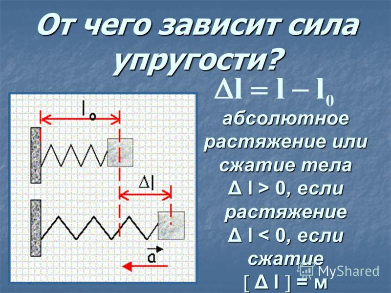 От чего зависит сила упругости? абсолютное растяжение или сжатие тела Δ l > 0, если растяжение Δ l < 0, если сжатие Δ l = м