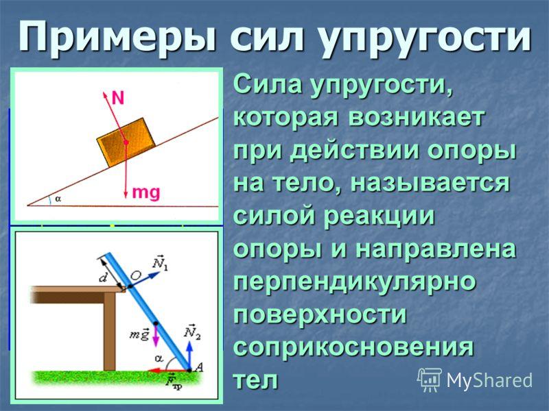 Сила упругости, которая возникает при действии опоры на тело, называется силой реакции опоры и направлена перпендикулярно поверхности соприкосновения тел