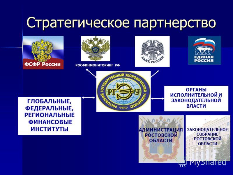 ГЛОБАЛЬНЫЕ, ФЕДЕРАЛЬНЫЕ, РЕГИОНАЛЬНЫЕ ФИНАНСОВЫЕ ИНСТИТУТЫ ОРГАНЫ ИСПОЛНИТЕЛЬНОЙ И ЗАКОНОДАТЕЛЬНОЙ ВЛАСТИ ФСФР России РОСФИНМОНИТОРИНГ РФ ЗАКОНОДАТЕЛЬНОЕ СОБРАНИЕ РОСТОВСКОЙ ОБЛАСТИ АДМИНИСТРАЦИЯ РОСТОВСКОЙ ОБЛАСТИ Стратегическое партнерство