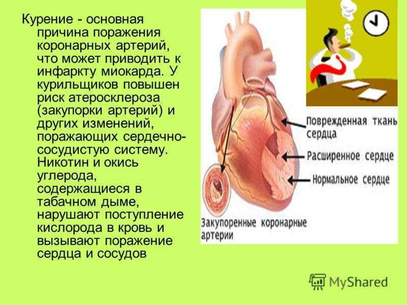 Курение - основная причина поражения коронарных артерий, что может приводить к инфаркту миокарда. У курильщиков повышен риск атеросклероза (закупорки артерий) и других изменений, поражающих сердечно- сосудистую систему. Никотин и окись углерода, соде