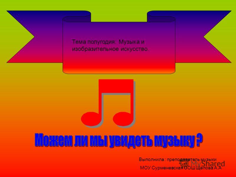 Тема полугодия: Музыка и изобразительное искусство. Выполнила : преподаватель музыки МОУ Сурменевская СОШ Щепова А.А