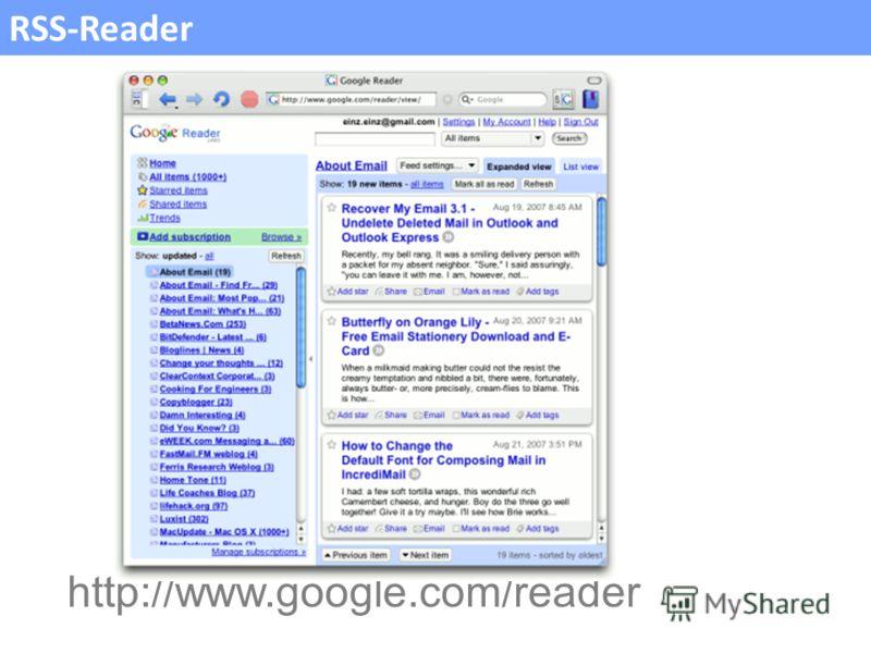 RSS-Reader http://www.google.com/reader