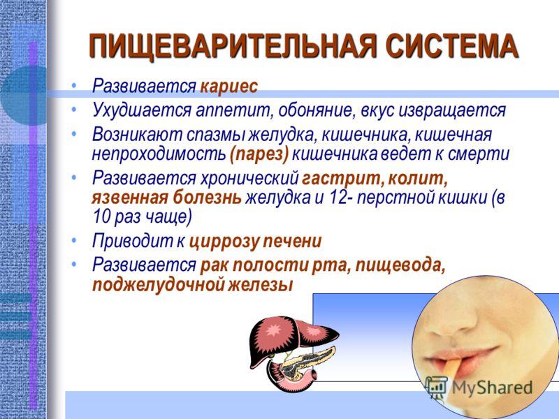 ПИЩЕВАРИТЕЛЬНАЯ СИСТЕМА Развивается кариес Ухудшается аппетит, обоняние, вкус извращается Возникают спазмы желудка, кишечника, кишечная непроходимость (парез) кишечника ведет к смерти Развивается хронический гастрит, колит, язвенная болезнь желудка и
