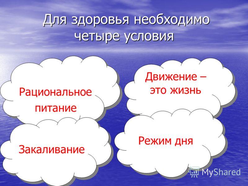 Для здоровья необходимо четыре условия Для здоровья необходимо четыре условия Движение – это жизнь Рациональное питание Рациональное питание Закаливание Режим дня