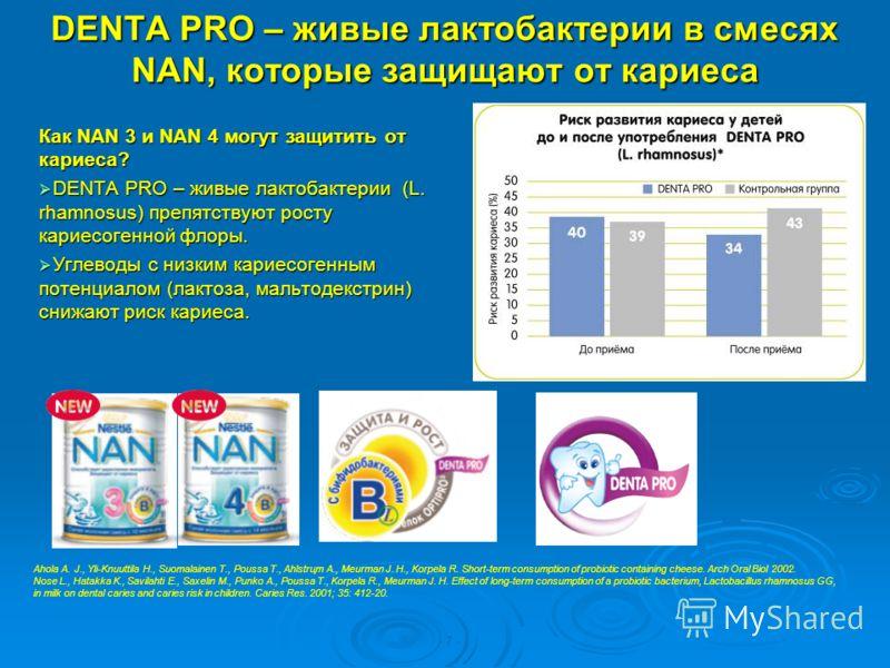 DENTA PRO – живые лактобактерии в смесях NAN, которые защищают от кариеса Как NAN 3 и NAN 4 могут защитить от кариеса? DENTA PRO – живые лактобактерии (L. rhamnosus) препятствуют росту кариесогенной флоры. DENTA PRO – живые лактобактерии (L. rhamnosu