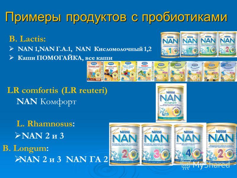 LR comfortis (LR reuteri) NAN Комфорт L. Rhamnosus: NAN 2 и 3 B. Lactis: NAN 1,NAN Г.А.1, NAN Кисломолочный 1,2 Каши ПОМОГАЙКА, все каши Примеры продуктов с пробиотиками B. Longum: NAN 2 и 3 NAN ГА 2