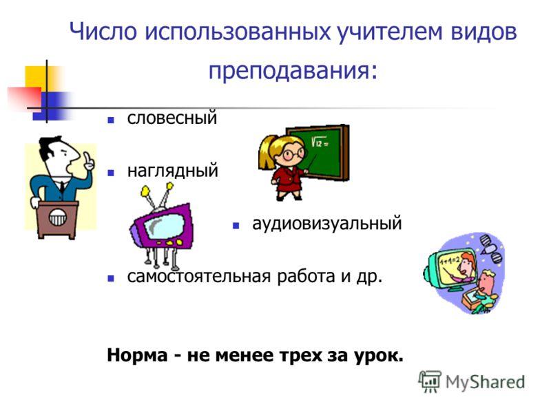 Число использованных учителем видов преподавания: словесный наглядный аудиовизуальный самостоятельная работа и др. Норма - не менее трех за урок.