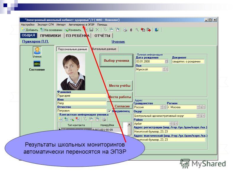 Результаты школьных мониторингов автоматически переносятся на ЭПЗР