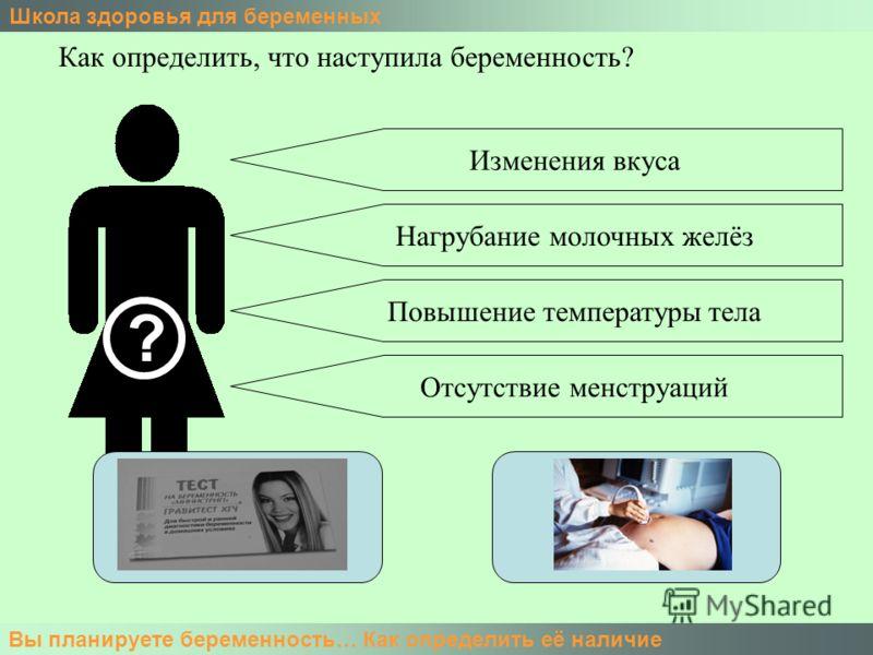 Школа здоровья для беременных Вы планируете беременность… Как определить её наличие Как определить, что наступила беременность? ? Изменения вкуса Нагрубание молочных желёз Повышение температуры тела Отсутствие менструаций