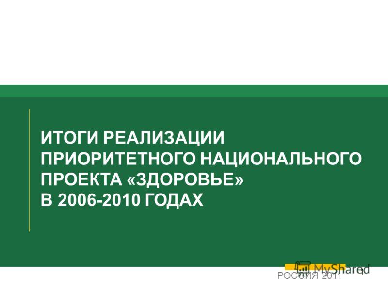 1 ИТОГИ РЕАЛИЗАЦИИ ПРИОРИТЕТНОГО НАЦИОНАЛЬНОГО ПРОЕКТА «ЗДОРОВЬЕ» В 2006-2010 ГОДАХ РОССИЯ 2011